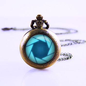 glados aperture science Pocket watch Necklace, Birthday Watch pendant necklace, vintage charm necklace , sister necklace