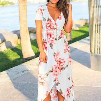 Light Blue and Pink Floral High Low Dress