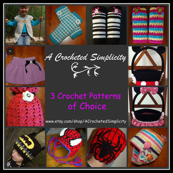 Crochet Pattern Sale: 3 for 9 Dollars, Choose ANY 3 of my patterns for only 9 Dollars, All Patterns Include Permission to sell finished item