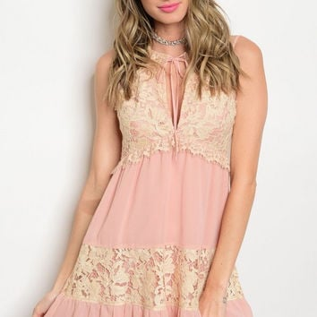 * BLUSH CREAM LACE DRESS