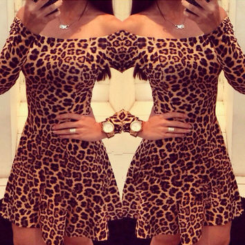 Hot Sale Sexy Club Leopard Long Sleeve One Piece Dress [11545799311]