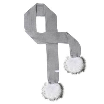 LUX FUR POM SCARF GRAY WITH WHITE FUR