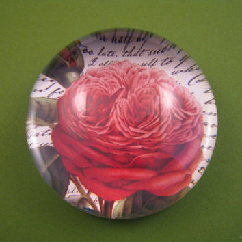 Bernard Red Rose and Script Round Large Glass Dome Paperweight Floral Home Decor June Birthday