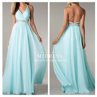 Tiffany blue prom dress, Sexy halter prom dresses party dress cocktail dress, beaded ball gown prom dresses, floor length mint  prom dresses