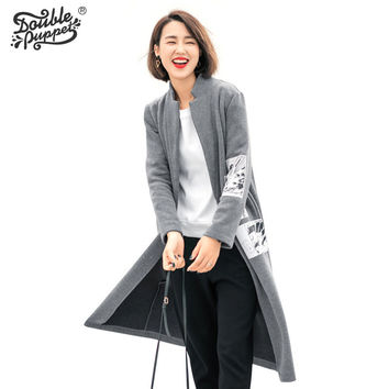 Double puppet 2016 new autumn winter stand collar long sleeve zip-up pattern tops pockets women patch design spliced coat 363019