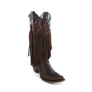 DCCKAB3 Corral Brown Sierra Fringe & Studded Leather Snip Toe Boots C1185