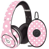 White Polka Dot on Baby Pink Skin  for the Beats Studio Headphones & Case by skinzy.com
