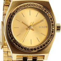 Nixon Small Time Teller Gold & Crystal Watch