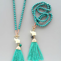Lucky Elephant Tassel Necklace