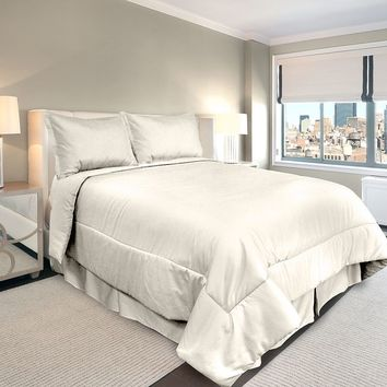 Veratex American Collection 300-Thread Count Solid 4-pc. Comforter Set - Full (White)