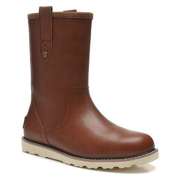 LFMON UGG 3247 Tall Leather Men Fashion Casual Wool Winter Snow Boots Chocolate