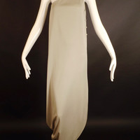 1970s Grey Knit Grecian Gown, Bust-36