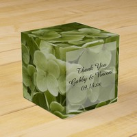Green Annabelle Hydrangea Floral Wedding Favor Box