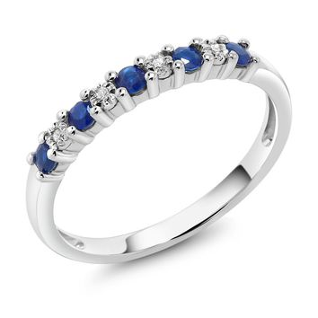 GemStoneKing 18K Solid White Gold 0.22 cttw Sapphire And White Diamond Anniversary Wedding Band Ring For Women