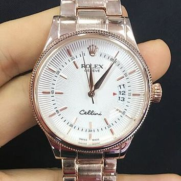 Rolex Fashion Women Men Leisure Simple Business Movement Watch Watch Wrist Rose Gold I-YF-GZYFBY