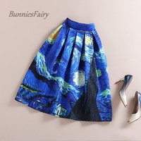BunniesFairy New 50s Vintage Van Gogh Starry Sky Oil Painting 3D Digital Print High Waist Skirt Rockabilly Tutu Retro Puff Skirt