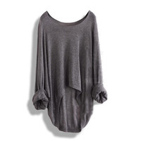 BATWING LADIES CASUAL LOOSE ASYMMETRIC KNIT SWEATSHIRT