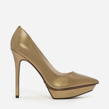 Gold Pointed Platform Pumps | CHARLES & KEITH
