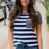 Forever And Always Navy Striped Pocket Tee