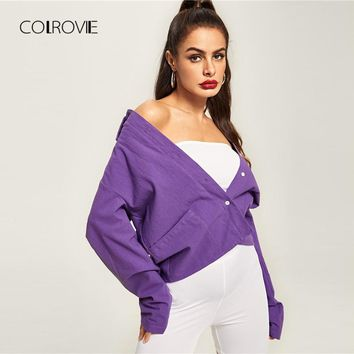 COLROVIE Purple Solid Pocket Button Up T Shirt Women 2018 Autumn Long Sleeve Tee Sexy Female Vintage T-Shirts Women Tops Tee