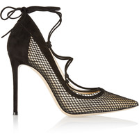 Gianvito Rossi - Lace-up suede and mesh pumps
