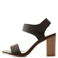 Black Qupid Single Strap Chunky Heel Sandals