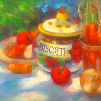 "Still Life Italian Pottery Vegetables Unframed  9""H x 12""W  Original Oil Painting by Tina Wassel Keck - Oil on canvas - ""Italian Treasure"""