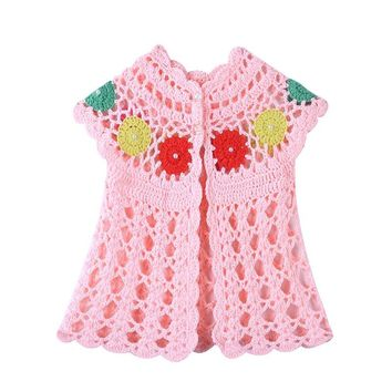 Newborn Baby Girls Vest Tops Clothes European Hollowed-Out Knitted Handmade Pearl Waistcoat for Girl Infant Cartdigan Outwear