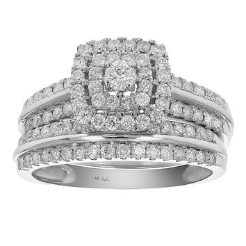 0.77 Carats 7/8 CT Diamond Halo Cushion Wedding Engagement Ring Set 14K White Gold