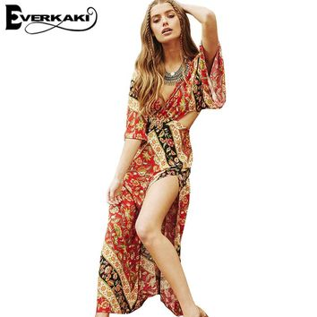Everkaki Bohemian Dresses Women Summer Long Loose Boho Print Backless Dress V Neck Half Sleeve High Waist split beach dress 2017