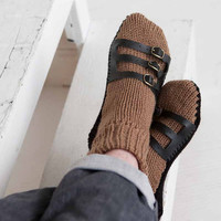 Mens Slipper Socks Mens Knit Slippers Brown Black Sandal Sock Mens House Slippers Mens Knit Socks Leather Straps