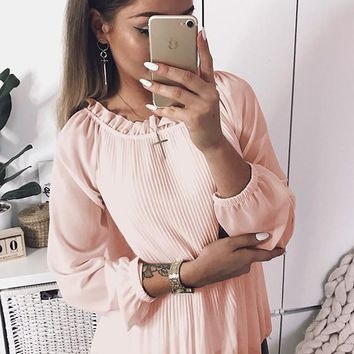 Pink Pleated Petal Neck Long Sleeve Sweet Blouse