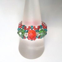 Handmade Red & Green Christmas Beaded Ring! Statement Ring, Bead Ring, Metal Free Ring, Seed Bead Ring, Beaded Jewellery