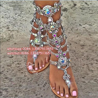 Knee High Buckle Strap Flats Sandal Boots Gladiator Summer Rhinestone Woman Boots Shoes Bohemia Style Crystal Beach Shoes