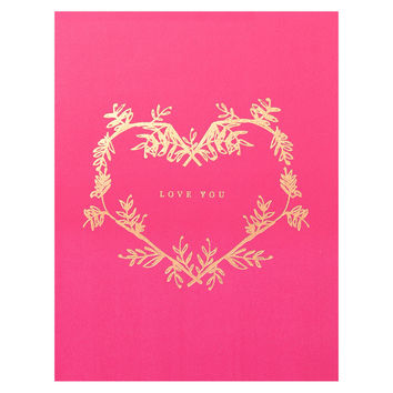Gold Botanical Wreath Love You Greeting Card
