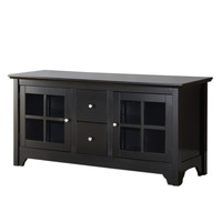 """52"""" Wood TV Stand with Drawers and Glass Doors (Laquered Black) (53""""W x 24""""H x 16""""D)"""
