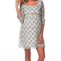 White & Gray Lattice Maternity Shift Dress | something special every day