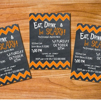 Eat Drink & Be Scary Printable Halloween Invitation Halloween Party Invitation Chevron Style customized Template Black Orange MS Word Doc