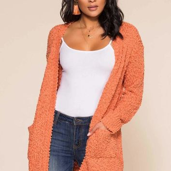 Cozy Beginnings Cardigan - Rust