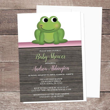 Frog Baby Shower Invitations Girl - Rustic Wood Cute Green Froggy with Pink and Brown - Frog Shower Invites - Printed Frog Invitations