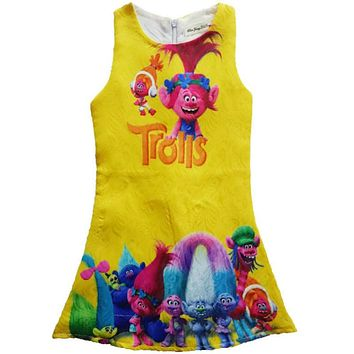 High Quality 2017 New Elf Trolls Children's clothes Baby girls dress kids Cute Cartoon Princess dresses party dress 2-10Y
