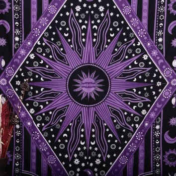 Purple Burning Sun Tapestry, Celestial Sun Moon Planet Tapestries, Hippie Hippy Wall Hanging, sun moon tapestry, twin Psychedelic tapestry, Burning Sun Tapestries, Bohemian Wall hanging, dorms tapestries, beach sheet