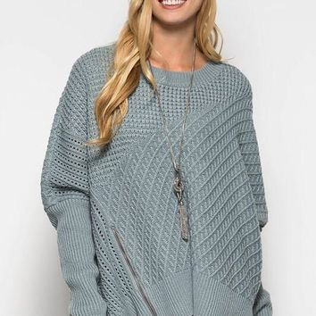 OSFA Oversized Cable Knit Sweater Poncho - Slate - Ships Tuesday