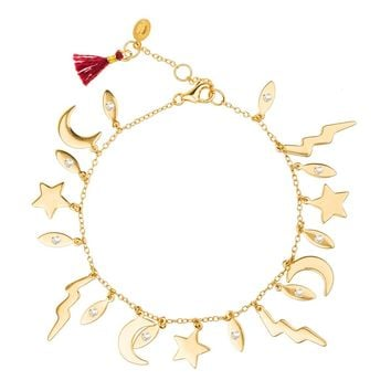 Shashi x Lightning Charm Bracelet (Yellow Gold)