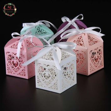 2016 New 50pcs Love Heart Candy Box wedding box Wedding Party Favor box gift box baby shower wedding decoration party supplies