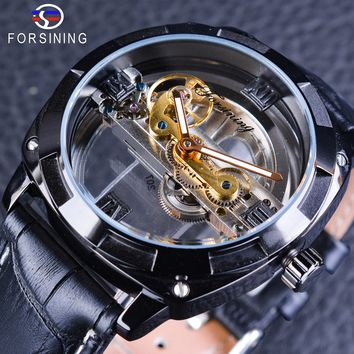 Forsining Official Exclusive Sale Double Side Transparent Steampunk Design Automatic Watch for Men Sport Watch Genuine Leather