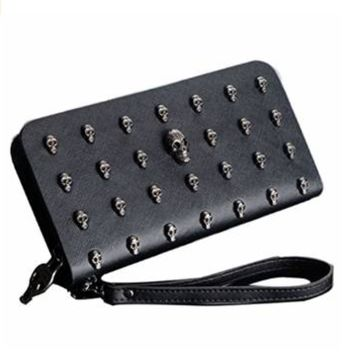Women's Vintage Punk Leather Card Holder Wallet Skull Clutch Purse Black