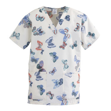 Medline ComfortEase Ladies V-Neck Two-Pocket Scrub Tops-Butterflies Print