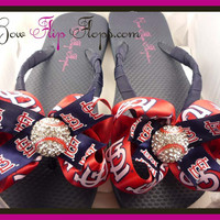 Cardinals Bow Flip Flops  Baseball Flip Flops with Bling Rhinestone St Louis Baseball