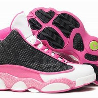 Hot Air Jordan 13 Retro Women Shoes Pink Black White